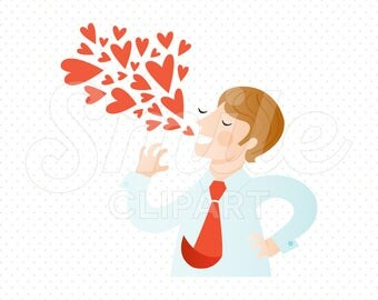 SWEET TALKING MAN Clipart Illustration for Commercial Use | 0055