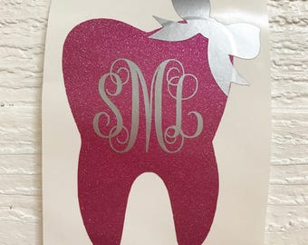 Monogram Tooth decal / dentist / dental hygienist / dental assistant / yeti tooth decal / car / laptop / rtic / cup / glitter