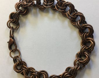 Antiqued Copper Mobius Chainmaille Bracelet