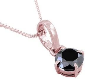 Black Diamond Solitaire Pendant, Available in Sterling Silver,14kt Gold.Mens pendants,Birthday Gift,Christmas