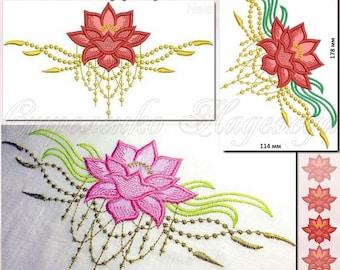 Machine Embroidery Designs Embroidery Lotus applique Digital embroidery Maschinenstickerei Lotus applique design of machine embroidery