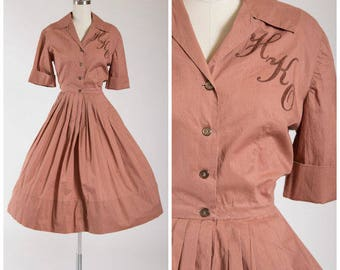 Monogrammed 1950s Shirtwaist Dress