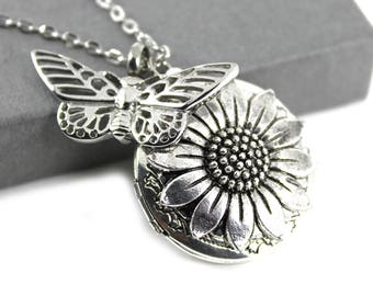 Sunflower Photo Locket with Butterfly Urn Necklace, Memorial Jewellery, Urn Locket, Cremation Jewelry, Fillable Jewelry, Cremation Necklace