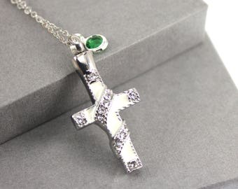Enamel Cross and Birthstone Urn Memorial Cremation Necklace, Memorial Jewellery,  Cremation Jewelry, Urn Locket, Cremation Necklace