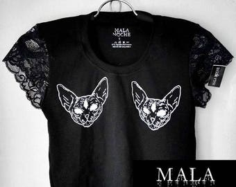 Crop top Sphynx, Top cat, lace top, lace shirt, dark clothing, wicca, witch, cats, sphynxs, goth shirt