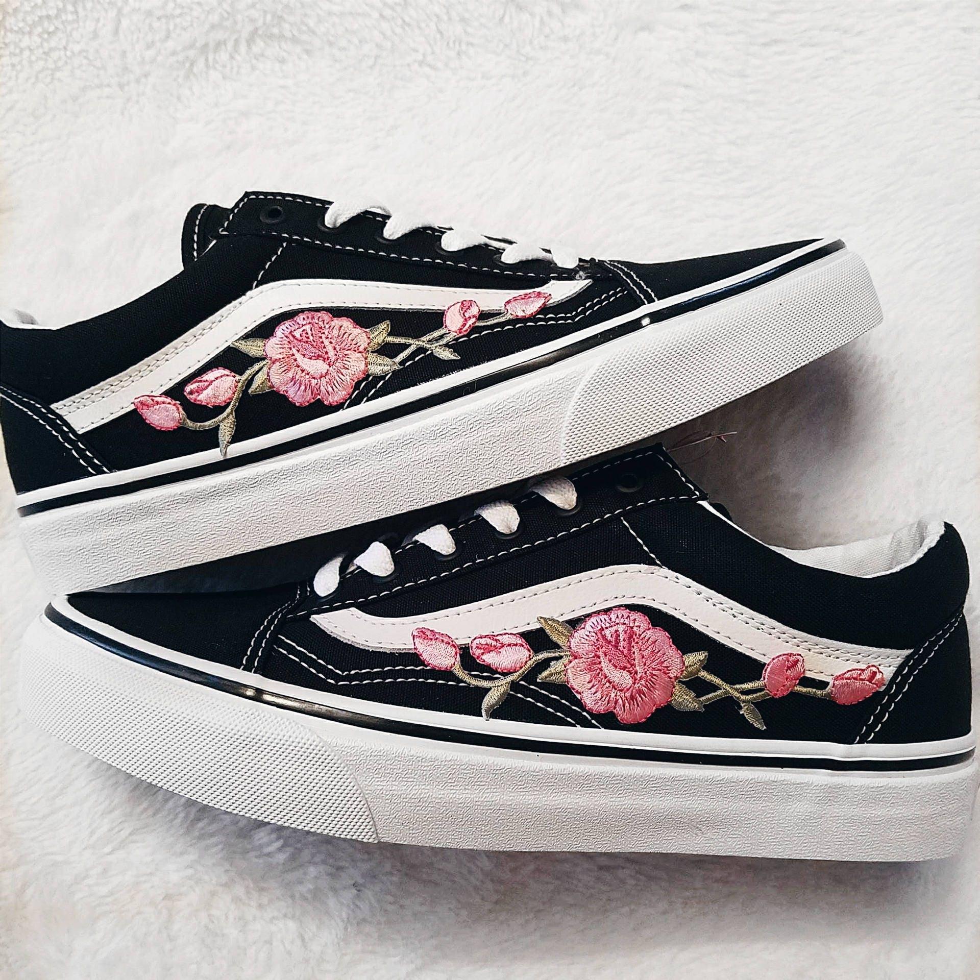 rose knospen rosa blk unisex custom rose bestickt patch vans. Black Bedroom Furniture Sets. Home Design Ideas