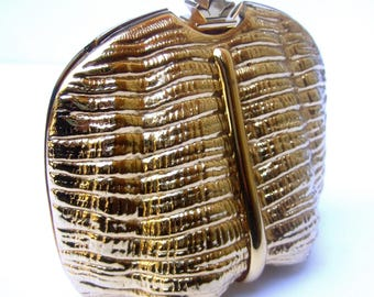 RODO Italian Gilt Metal Sea Shell Miniaudiere' Evening Bag c 1970s