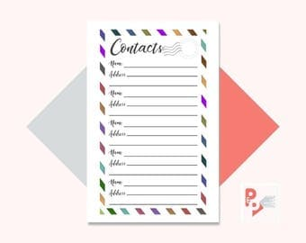 CONTACTS Mini Happy Planner Printable Insert, Create 365, Happy Planner Inserts, Happy Planner Mini, MAMBI Planner, Instant Download