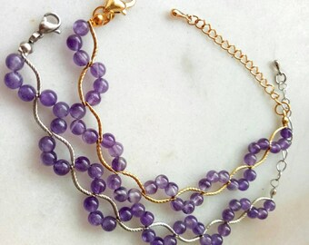 Amethyst gemstone vine bracelet: Gemstone bracelet, amethyst bracelet, semi-precious stone, gold and silver, vine bracelet, everyday jewelry