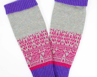 Cashmere & Wool legwarmers - Hebden Houses fairisle pattern - luxury knitted legwarmers - perfect for yoga