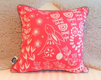 Evelyn Bunny Cushion in magenta with grey piping, scandi lifestyle interior decor