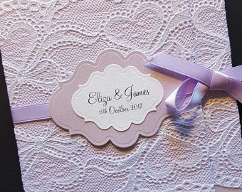 Handmade rustic lace wrap-around Lavender pocketfold wedding invitation