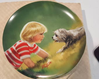 """Vintage Collector's Plate - """"Making Friends"""" by Artist Donald Zolan"""