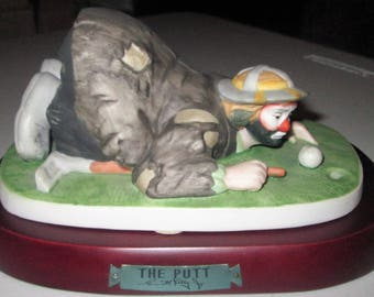 The Emmett Kelly Jr. Collection-FLAMBRO-The Putt-PORCELAIN FIGURINE w/Base Excellent!