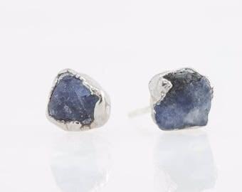 Silver Sapphire Earring, Raw Sapphire Earring, September Birthstone Earring, Raw Crystal Earring, Rough Sapphire Earring, Blue Sapphire
