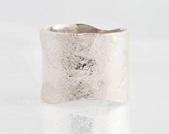 Sterling Silver Textured Extra Wide Ring in Semi-Polished Finish, Wide Silver Band, Statement Ring, Cigar Band Ring, Silver Ring 14MM