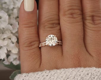 Rose Gold Engagement Ring, Moissanite Round 9mm and Diamond Bridal Ring Set, Forever Classic 1.90cts Moissanite Engagement Ring