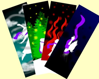 Elemental Bookmarks, Fire, Water, Air and Earth