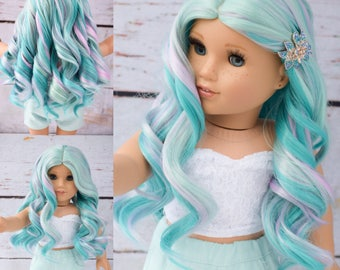 "10-11"" Custom doll wig to fit 18"" American Girl Dolls Gotz Journey Girls My Life Heat Safe Tangle Resistant TEAL Mint"