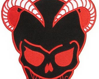 "ON SALE Satan Red Hell Devil Skull Embroidered Big XL Back Patch 10""x9"""