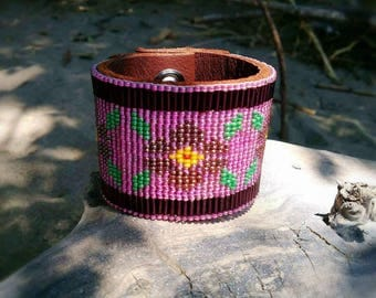 Pink beaded 8 inch Leather cuff bracelet