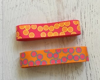 7/8 USD Pink and Orange Glitter Polka Dot Ribbon- USDR - Glitter Ribbon - Polka Dot Ribbon