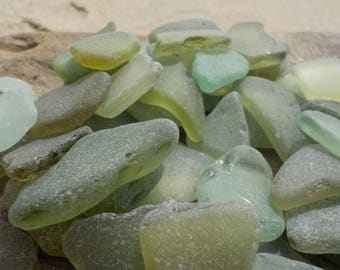 "30 pcs LIGHT Green shades Genuine Sea glass Bulk-Light green yellow-Size 0.6-1""-Craft quality-For Jewelry Art-Home Decor#92B#"