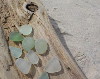 "9 Light Green flawless Genuine Sea Glass pieces-Size 0.6-0.7""-Jewelry Quality - For Jewelry Art- Mosaic Glass#J70#"