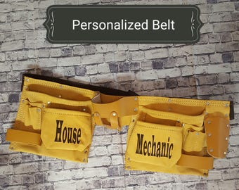 Personalized leather tool belt with *Free Personalization* permanently engraved into the pocket. Father's Day/Groomsman/Carpentry/Contractor