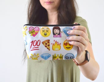 "Emoji Print Zippered Cosmetic Bag, Make-up Bag, Toiletry Bag, Pouch - 8"" x 5.5"""