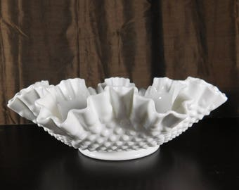 "Marked Fenton Milk Glass Large Bowl 4"" Tall by 11.5"" Wide  White Hobnail Hand Crimped Ruffled Edge Vintage Cottage Look Milkglass"