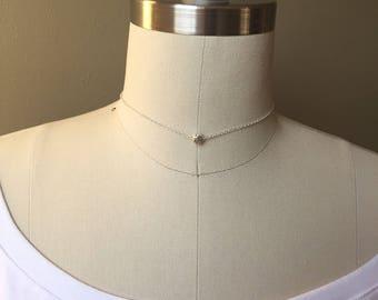 Minimalist necklace, Choker, Dainty choker, Layering necklace, Simple chain choker,Beaded necklace, Silver plated, Fashion jewelry