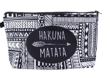 Hakuna Matata Native Makeup Brush Holder-Makeup Organizer-Gift for Her-Makeup Bag-Makeup Storage-Large Makeup Bag-Makeup Travel Bag-Make