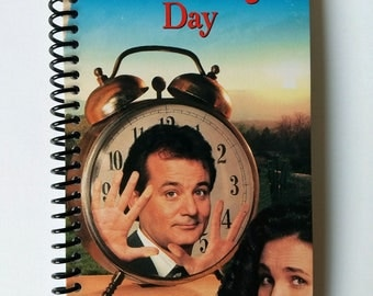 Groundhog Day Spiral Notebook Hand Made from Upcycled VHS Tape Movie Cover
