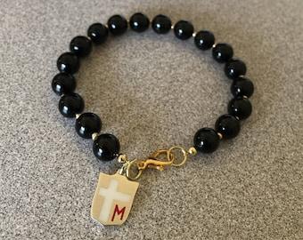 Onyx Bracelet,St.Gerard Bracelet,Patron Saint Jewelry, Fertility Bracelet,Unisex Gift,Mens Beaded Bracelet, Boyfriend Gift, Gift for husband