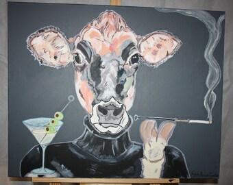 Marteenie Jersey cow smoking original artwork for sale
