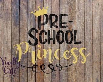 SVG - Pre-School Princess Pre-school  - Digital File Only - svg , png , jpg Pre-K