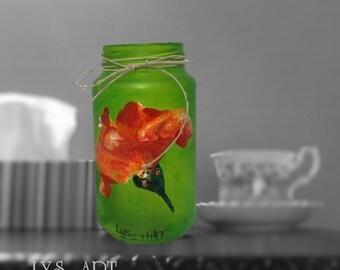 Ladybug Vase Glass Green Flower Hibiscus