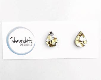 Chunky Silver and Gold Glitter Acrylic Stud Earrings - 12mm length Teardrop