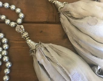 Vintage Inspired Glass Pearl Necklace with Sari Silk Tassel, Bohemian Necklace