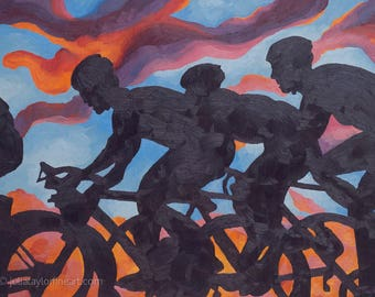 Peloton Art, Road Bike Race Art, Original Cycling Art, Abstract Bike Art, Original Painting, Gift for Cyclist, Pro Cycling Race Art