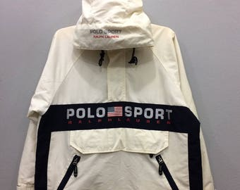 Vintage Rare Polo Sport By Ralph Lauren Jacket Hooded Long Sleeve Big Logo Spell Out Unisex Adult