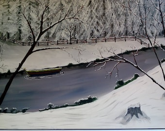 River in winter painting in acrylics