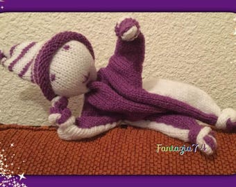 Knitted Elf plush white and purple