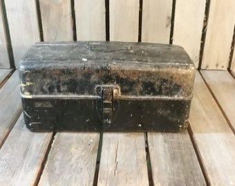 Vintage Metal Tackle Box/Old Metal ToolBox/Vintage Tackle Box/Vintage Tool Box/Old Fishing Box/Metal Fishing Box/Fishing Tackle Box/Toolbox