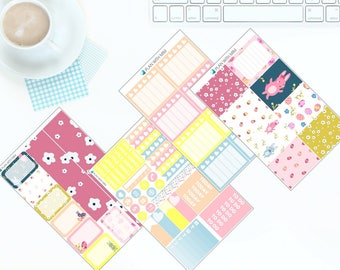 Cute Easter Bunnies - Weekly Kit Stickers for Erin Condren Vertical LifePlanner
