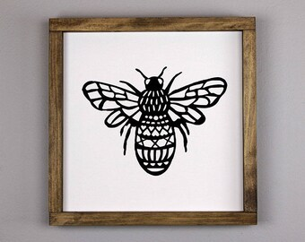 Queen Bee Sign; Handmade Wood Sign, Queen Bee, Insect Art, Bee Art, Rustic Signs, Rustic Wood Sign, Black and White Sign