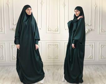 Emerald Long Silk Khimar, Elegant green muslim dress, Burqa,Dubai Abaya, traditional hijab,ready to wear hijab, long Jilbab, long burqa