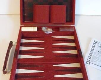 Backgammon Chess Maroon Brown Felt Case  (1473)