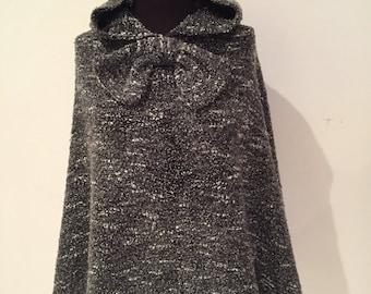 Charcoal long hooded poncho